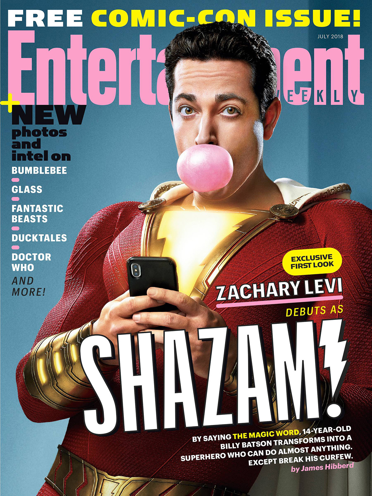 Portada de la revista Entertainment Weekly dedicada a Shazam!