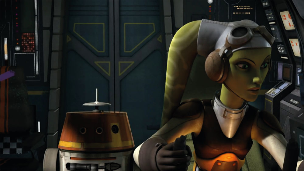Hera Syndulla y Chopper en Star Wars Rebels